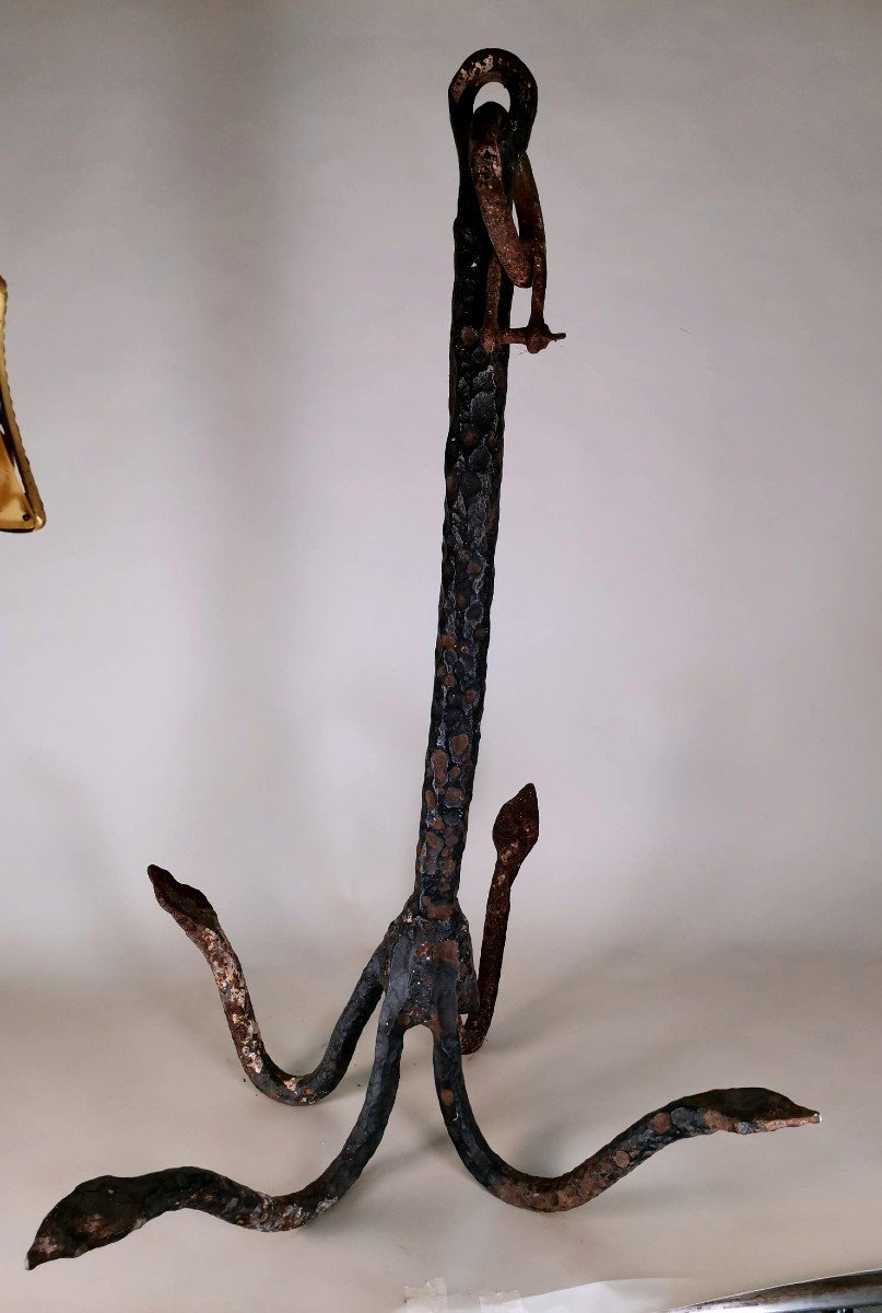 Large 18th Century Anchor In Forged Iron
