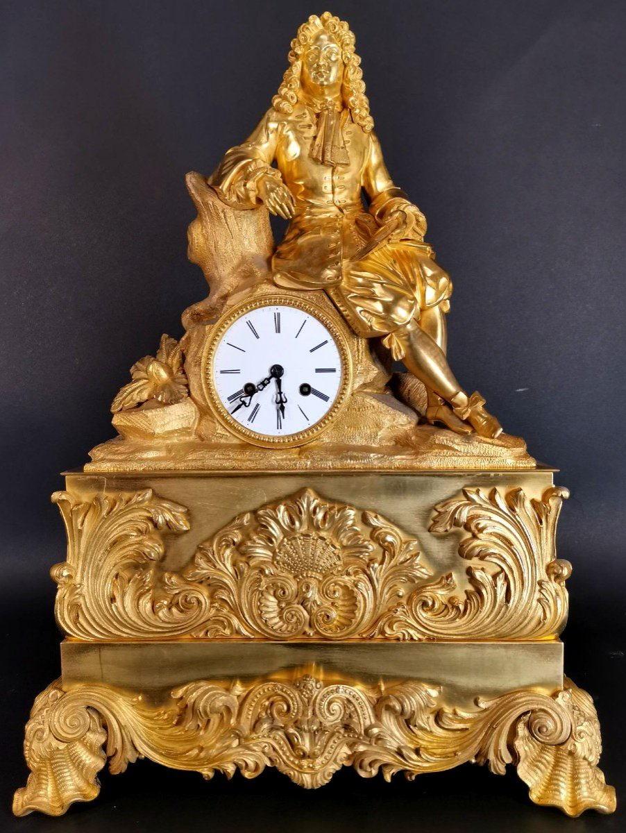 Large Gilt Bronze Clock With Louis Iv
