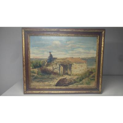 Oil On Canvas Signed St Brevin 1885 Courmont