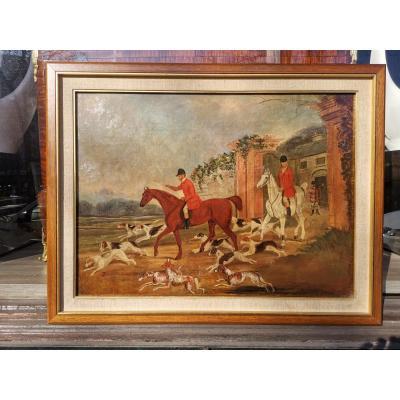 Impressionnant Peinture à l'Huile Antique De Chasse Au Renard Du XVIII-xix E Siècle