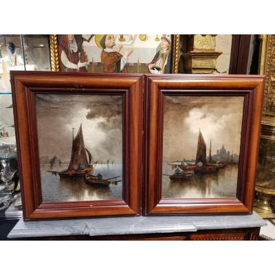 Pair Of Frame From XIX Eme Oil On Canvas