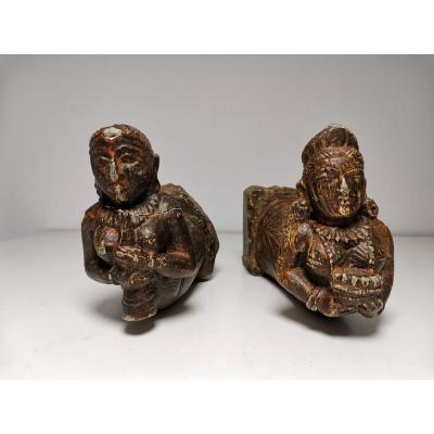 Indian Sculpted Stone Statuettes From XIX Eme