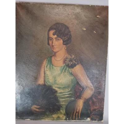 Huile Sur Toile Portrait De Dame