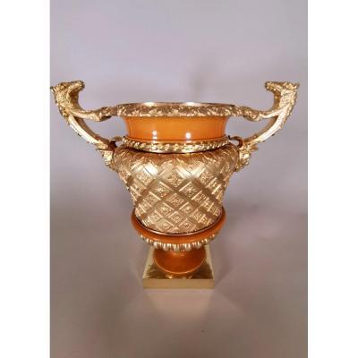 Vase En Bronze DorÉ Du XIXème SiÈcle