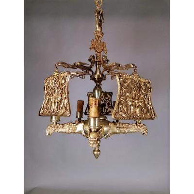 Importante Lampe En Bronze DorÉ Du XIXème SiÈcle