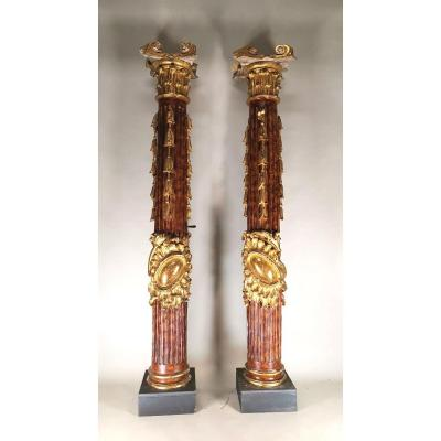 Pair Of 18th Century Altar Columns In Carved, Painted And Gilded Wood