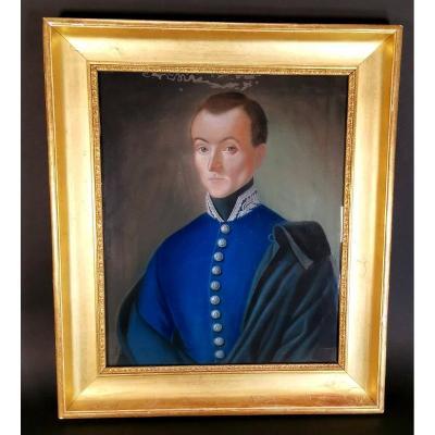 Portrait Of Officer Pastel XIX Eme