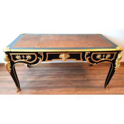 Important Regency Black Lacquered Flat Desk XIX Eme