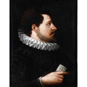 17th Century School Portrait Of A Noble With Letter