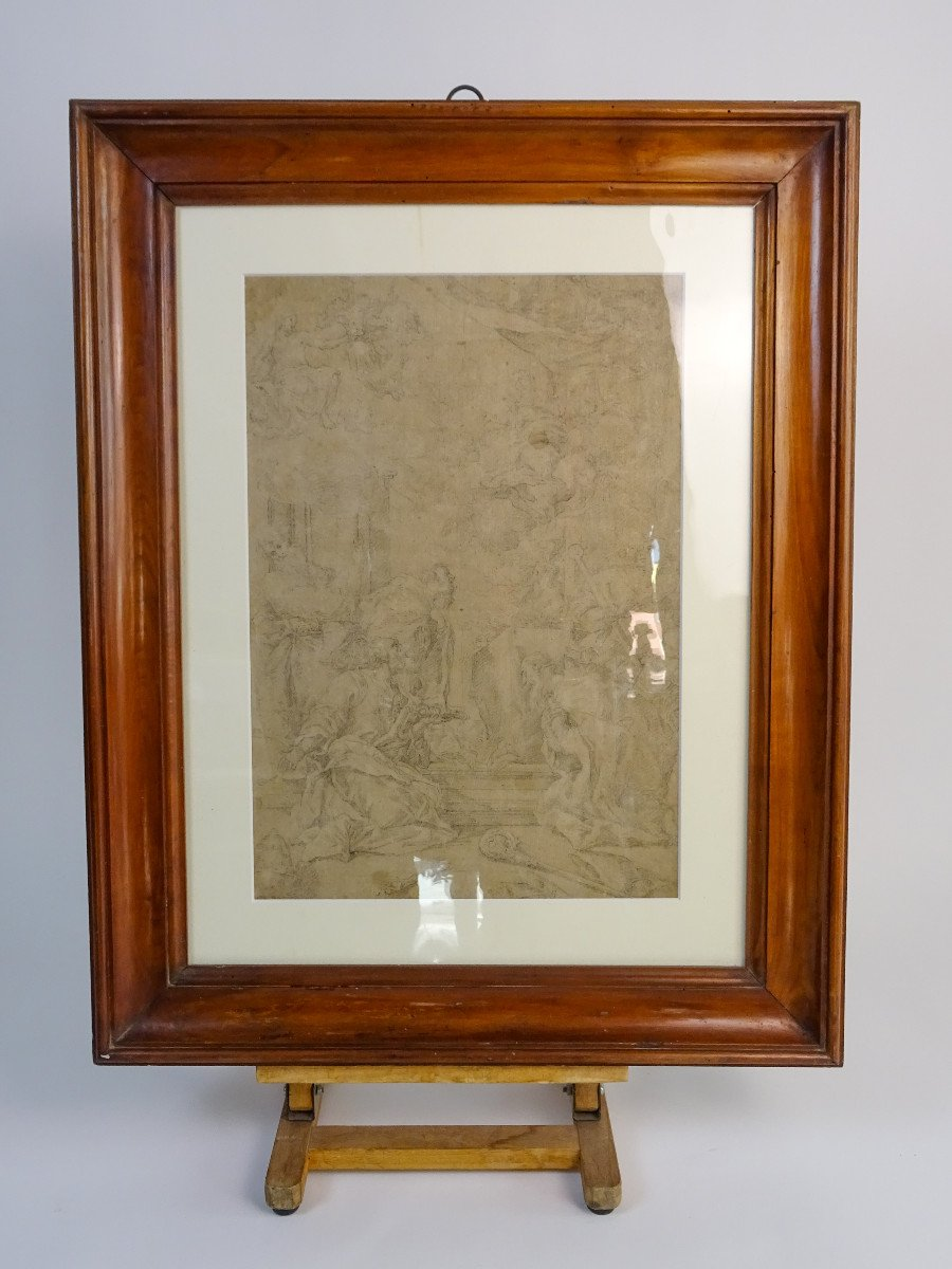 Crayon Sur Papier Attribué à Sebastiano Ricci - Assomption Et Couronnement De La Vierge-photo-2