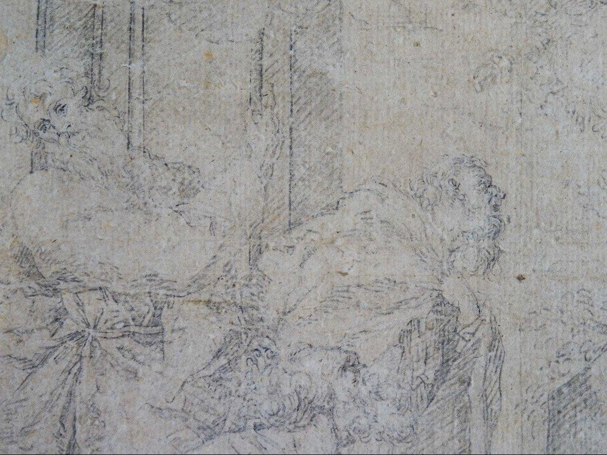 Crayon Sur Papier Attribué à Sebastiano Ricci - Assomption Et Couronnement De La Vierge-photo-4