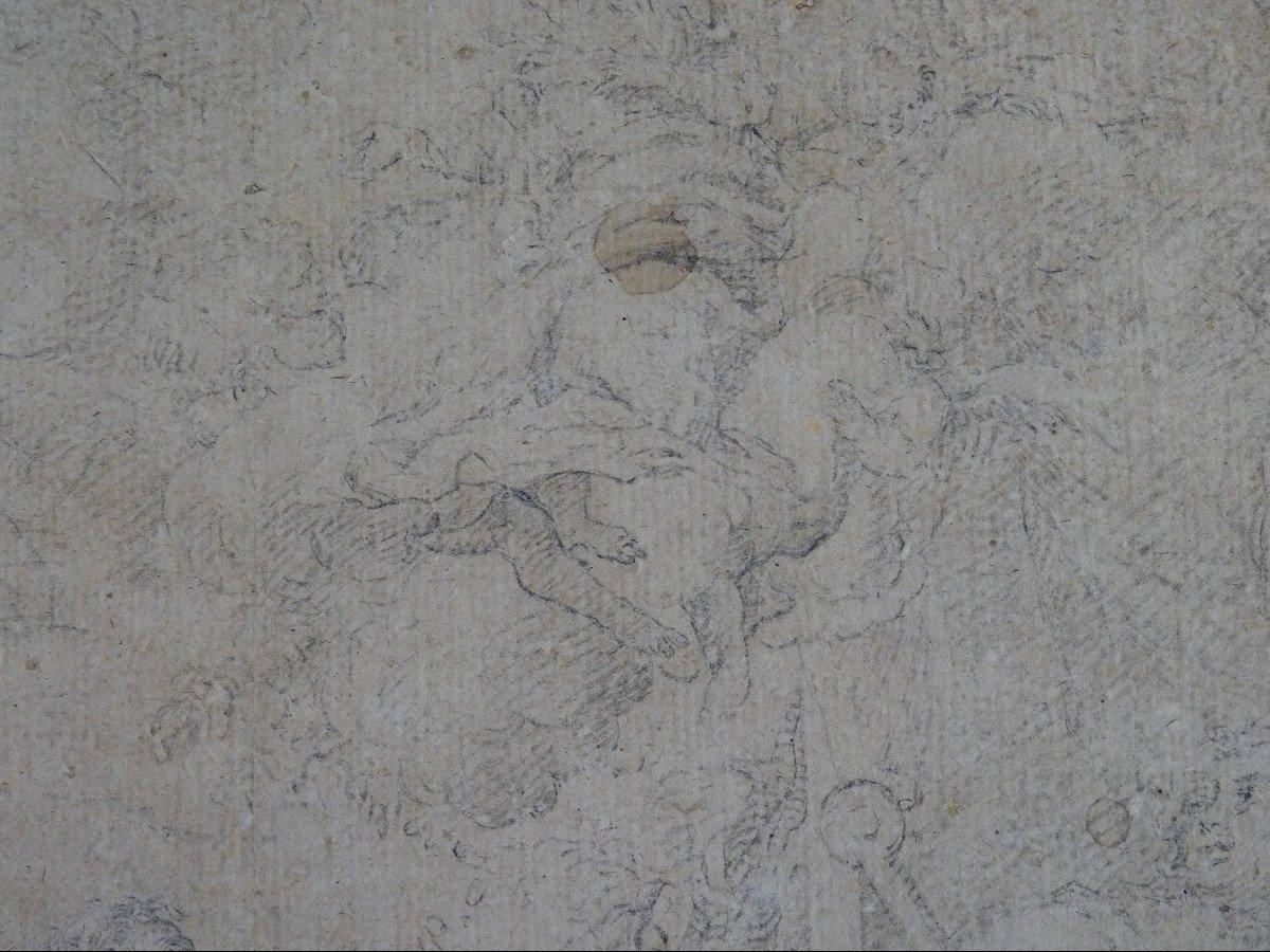 Crayon Sur Papier Attribué à Sebastiano Ricci - Assomption Et Couronnement De La Vierge-photo-3