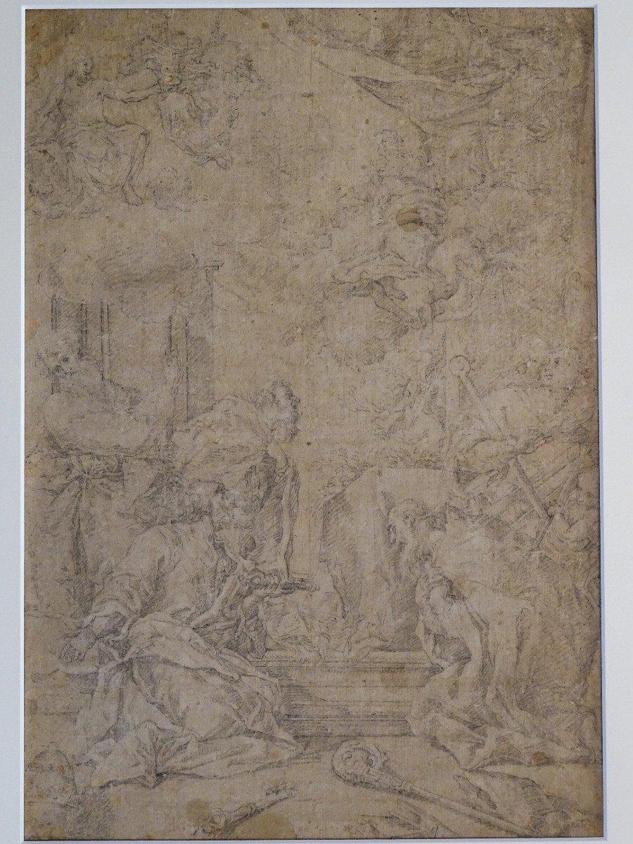 Crayon Sur Papier Attribué à Sebastiano Ricci - Assomption Et Couronnement De La Vierge