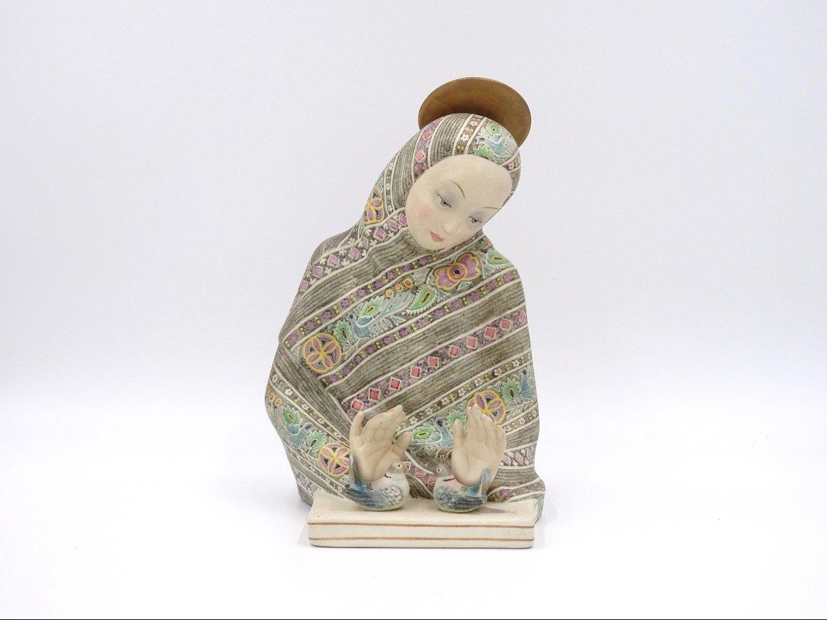 """""""madonna Dell'amore"""", Ceramic Sculpture, Lenci Manufacture"""