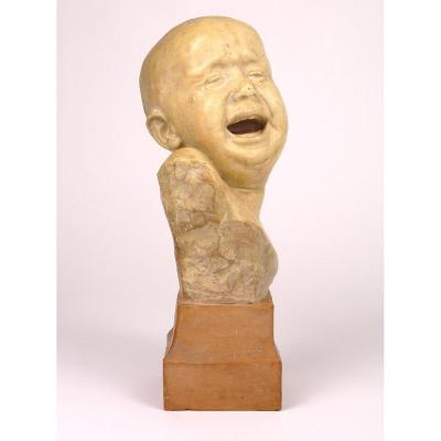 "Terracotta Sculpture ""bambino"" By Italian Sculptor Alimondo Ciampi"