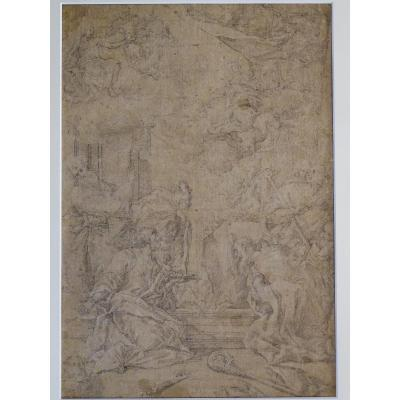 Pencil On Paper Attributed To Sebastiano Ricci - Assumption And Coronation Of The Virgin