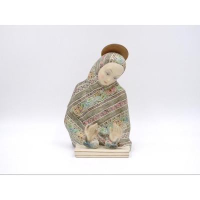 """""""Madonna dell'amore"""", sculpture en céramique, manufacture Lenci"""