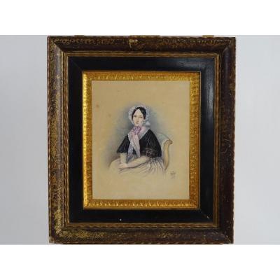 Figure Féminine Assise, Aquarelle Sur Papier, Angleterre XIXe Siècle