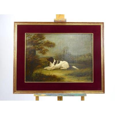 Paysage Avec Chien, Peinture à l'Huile Sur Toile, Angleterre XIXe Siècle