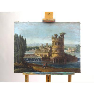 """""""Porte des ruines du palais de Dioclétien à Split"""", tempera sur toile, F. Migliari XIXe siècle"""