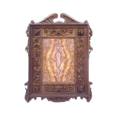 Finely Carved Walnut Frame With Marble Composition, Second Half Of The Nineteenth Century