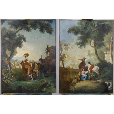 Pair Of French Paintings On Paper, Probably Zuber Manufacture, Late 18th Century