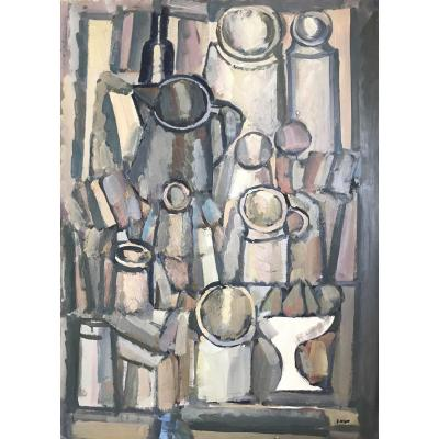 Pierre Coquet - Still Life With Pitchers And Fruit Bowl (c31)