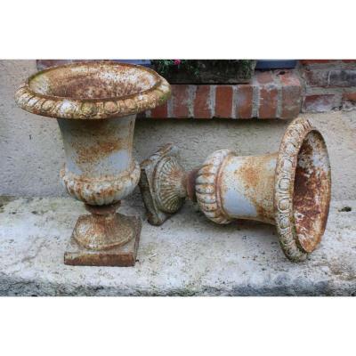 Paire De Vases Medicis XIX En Fonte