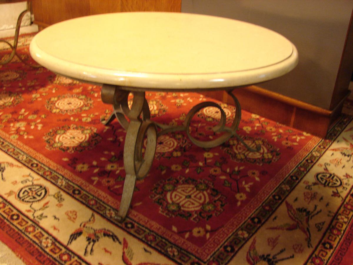 Table Basse Gueridon De Robert Merceris, Fer Forgé Et Comblanchien
