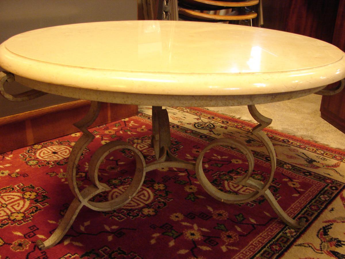 Table Basse Gueridon De Robert Merceris, Fer Forgé Et Comblanchien-photo-2