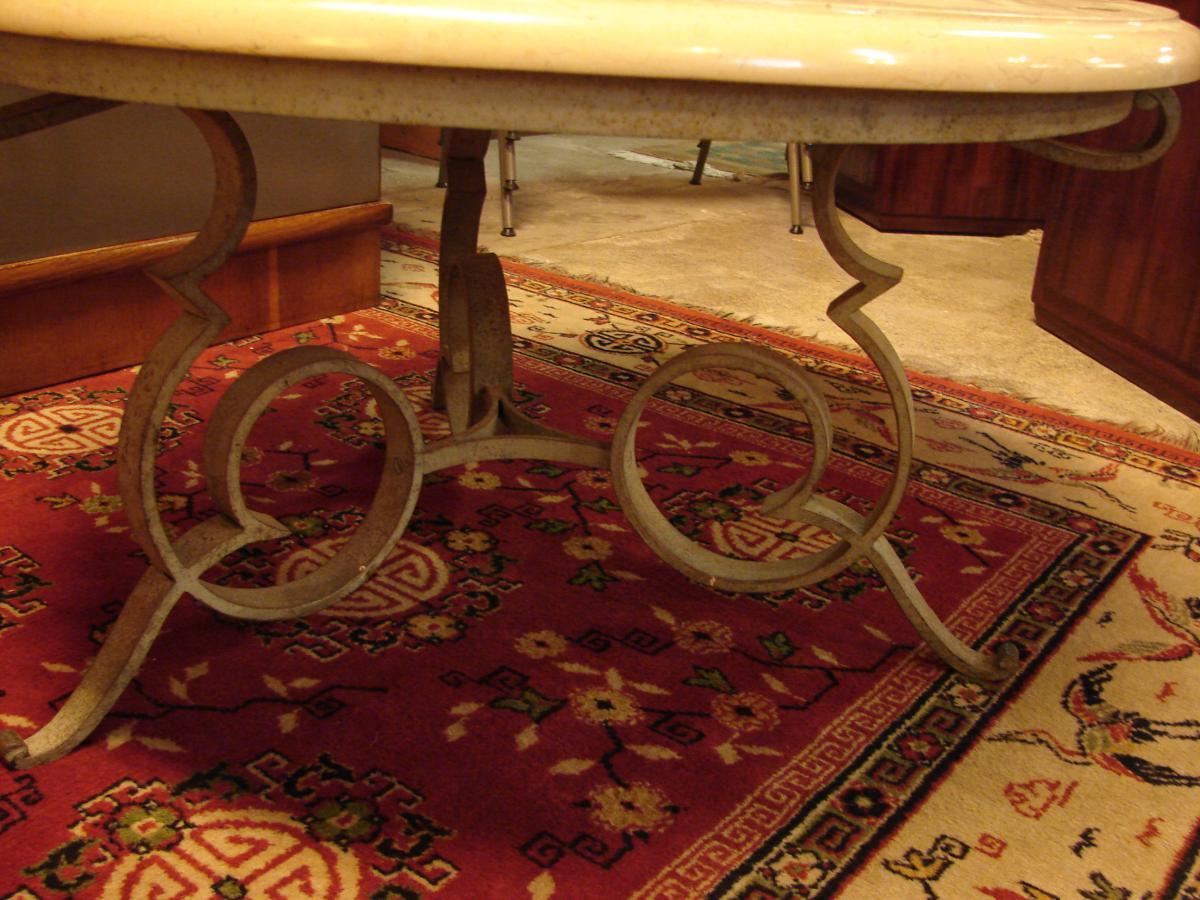 Table Basse Gueridon De Robert Merceris, Fer Forgé Et Comblanchien-photo-3