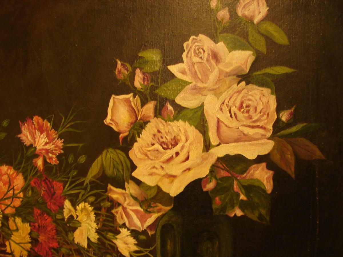 Grande Nature Morte Aux Fleurs Edouard.w.hoehn 1922-photo-3