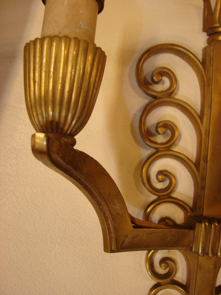 Suite De 4 Appliques En Bronze Vernis 1940