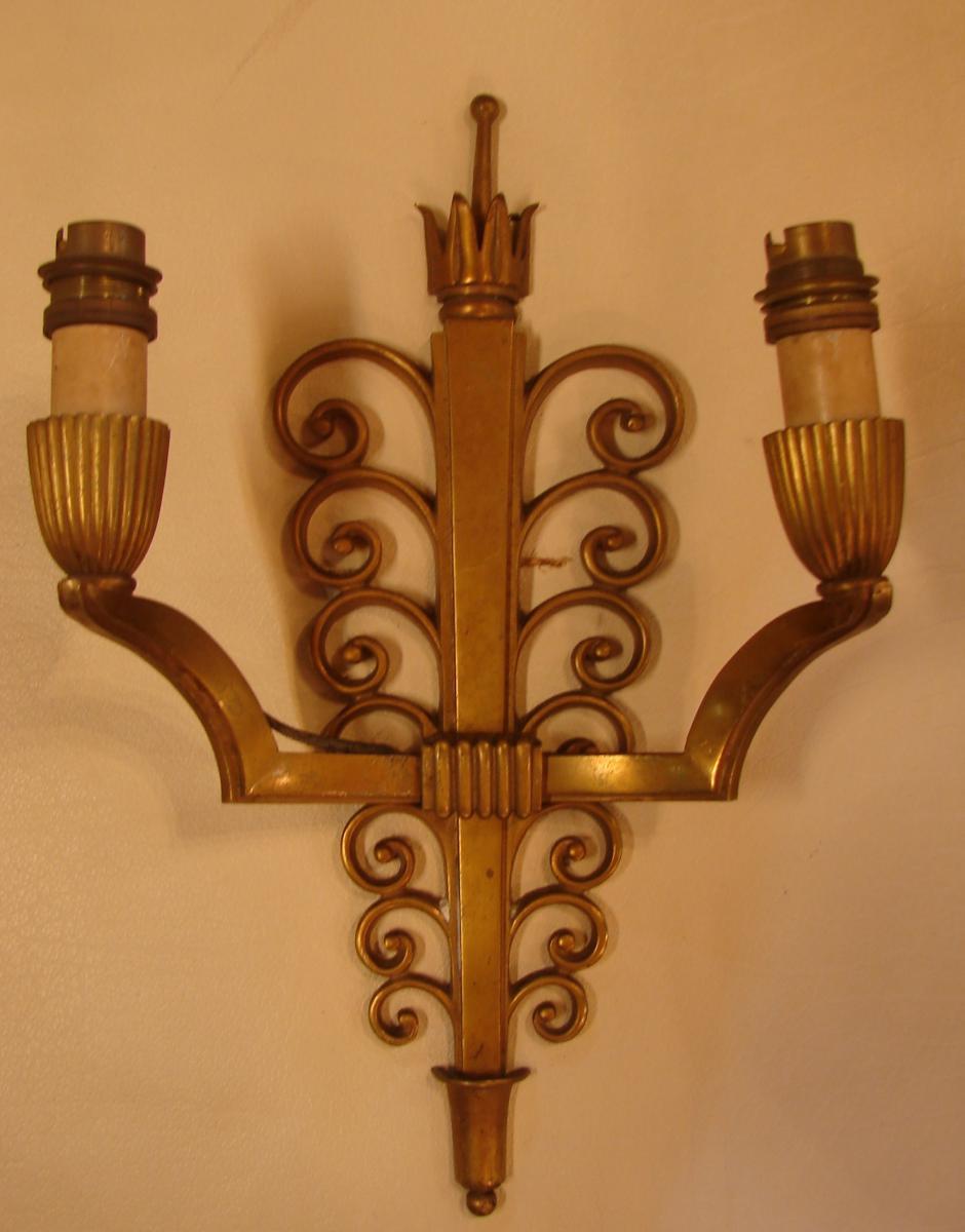 Suite De 4 Appliques En Bronze Vernis 1940-photo-3