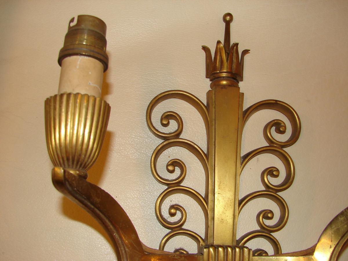 Suite De 4 Appliques En Bronze Vernis 1940-photo-2