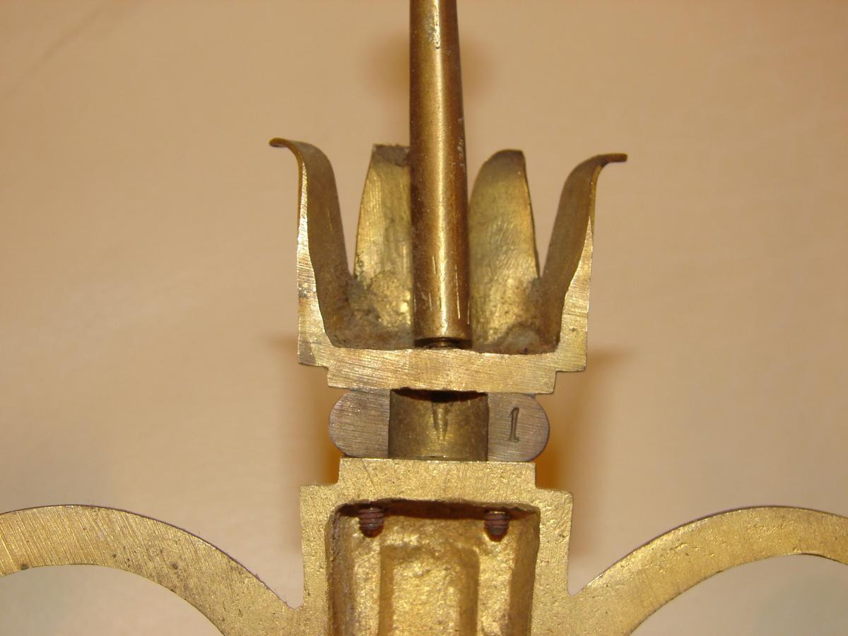 Suite De 4 Appliques En Bronze Vernis 1940-photo-4