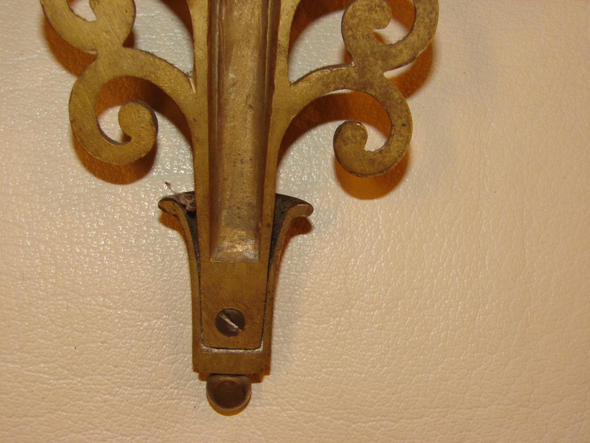 Suite De 4 Appliques En Bronze Vernis 1940-photo-6