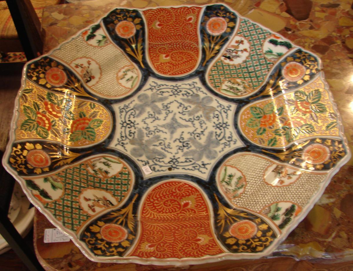 Grand Plat imari japon 19 ème porcelaine de fukagawa ou arita