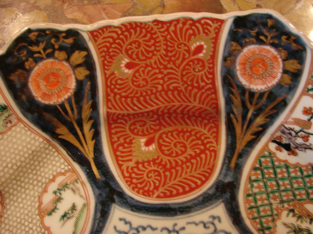 Grand Plat imari japon 19 ème porcelaine de fukagawa ou arita-photo-4