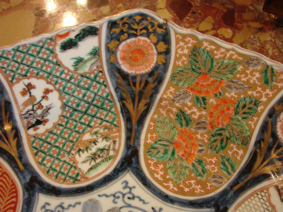 Grand Plat imari japon 19 ème porcelaine de fukagawa ou arita-photo-1