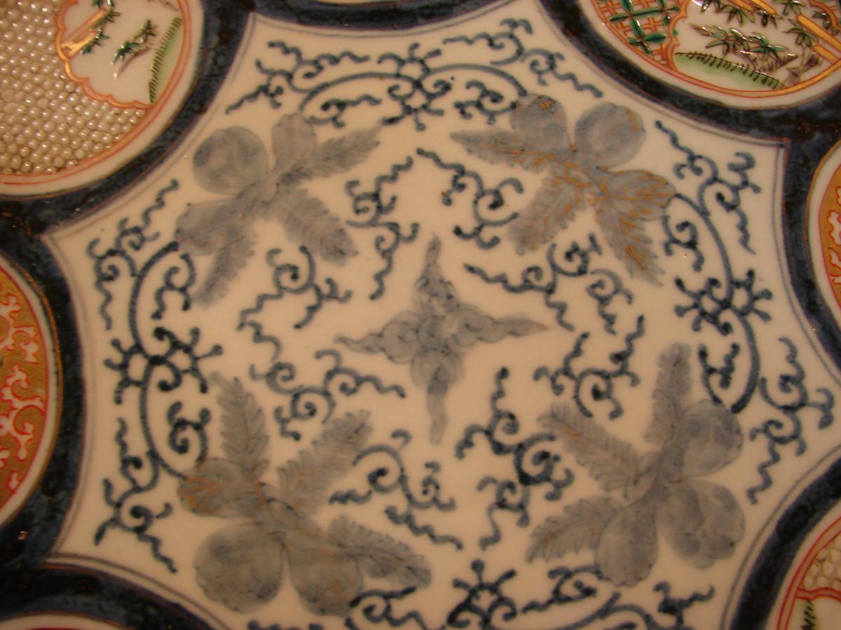 Grand Plat imari japon 19 ème porcelaine de fukagawa ou arita-photo-2
