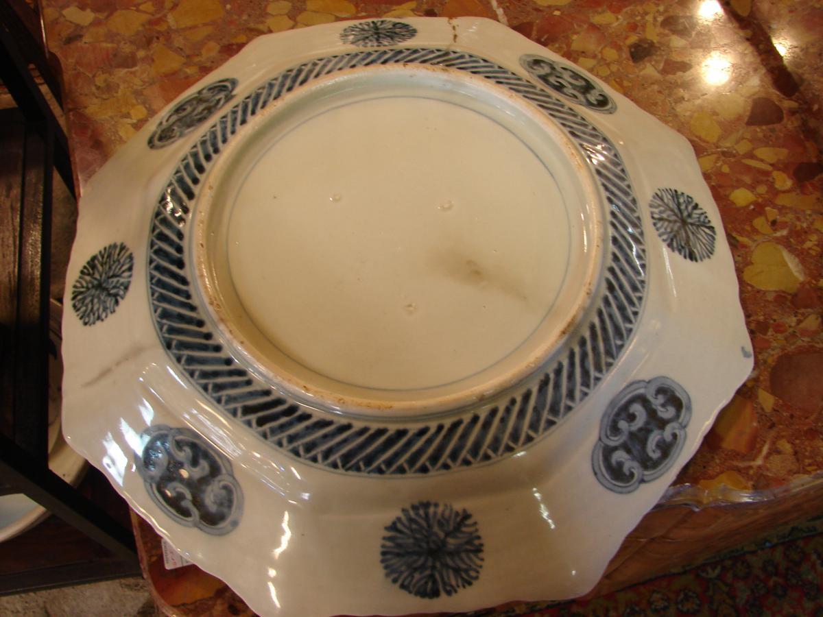 Grand Plat imari japon 19 ème porcelaine de fukagawa ou arita-photo-3