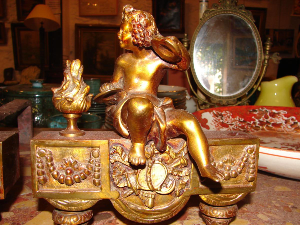 Puttis Musiciens Bronze Doré Et Vernis Fin 19 Eme-photo-5
