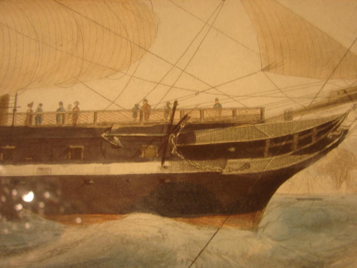 "estampe couleur 1840 ""steam ship ""president"" cadre acajou"