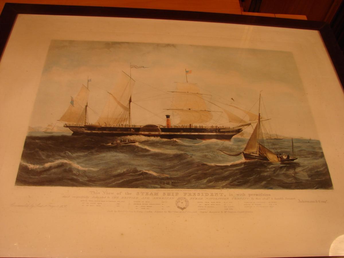 "estampe couleur 1840 ""steam ship ""president"" cadre acajou-photo-2"