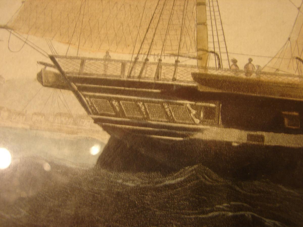 "estampe couleur 1840 ""steam ship ""president"" cadre acajou-photo-4"
