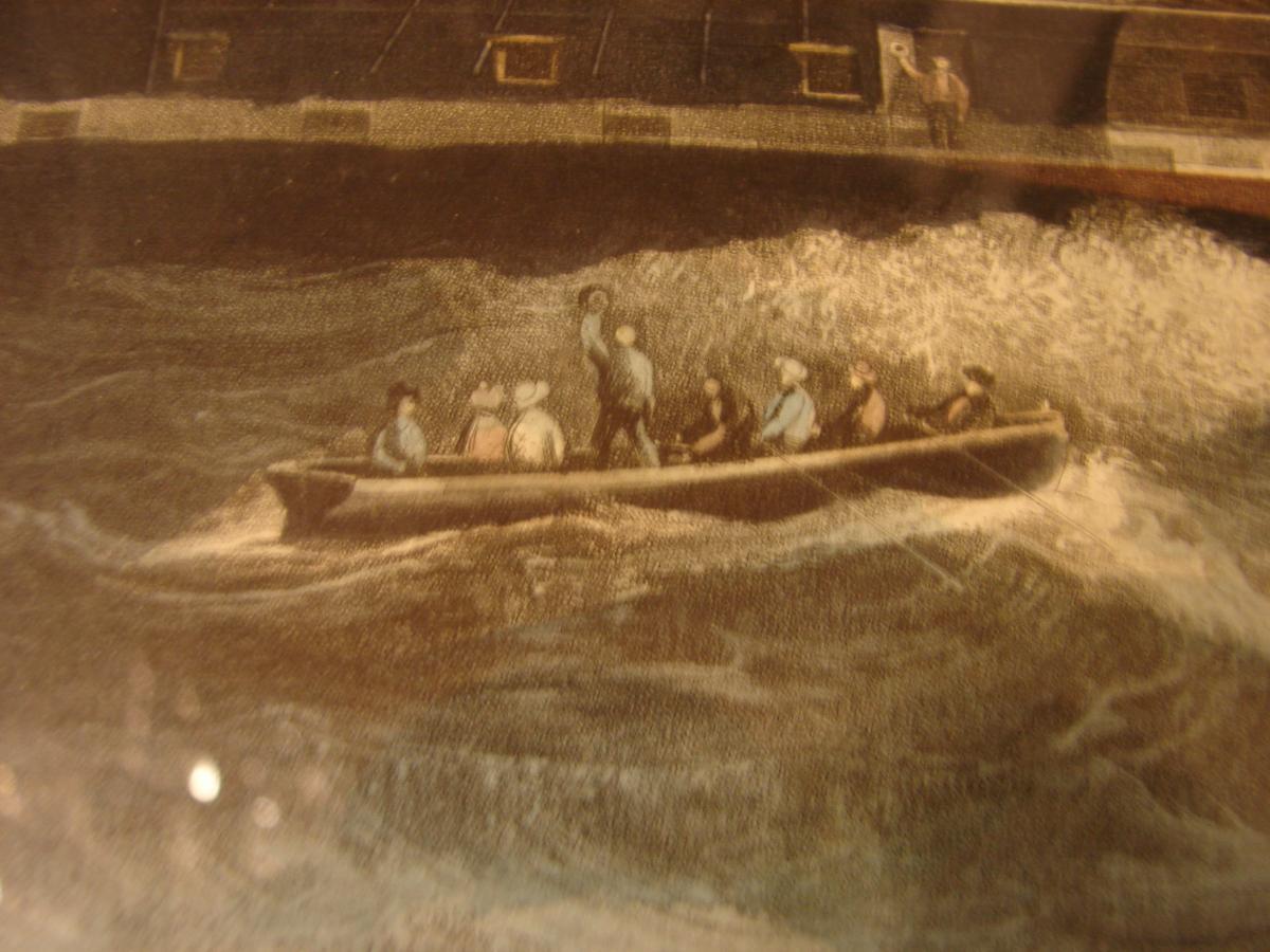 "estampe couleur 1840 ""steam ship ""president"" cadre acajou-photo-3"