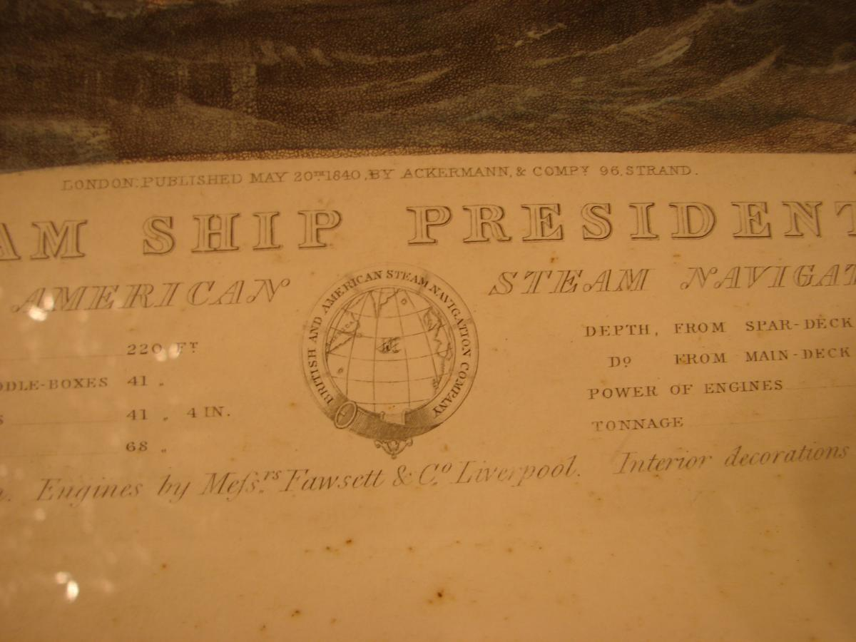 "estampe couleur 1840 ""steam ship ""president"" cadre acajou-photo-6"