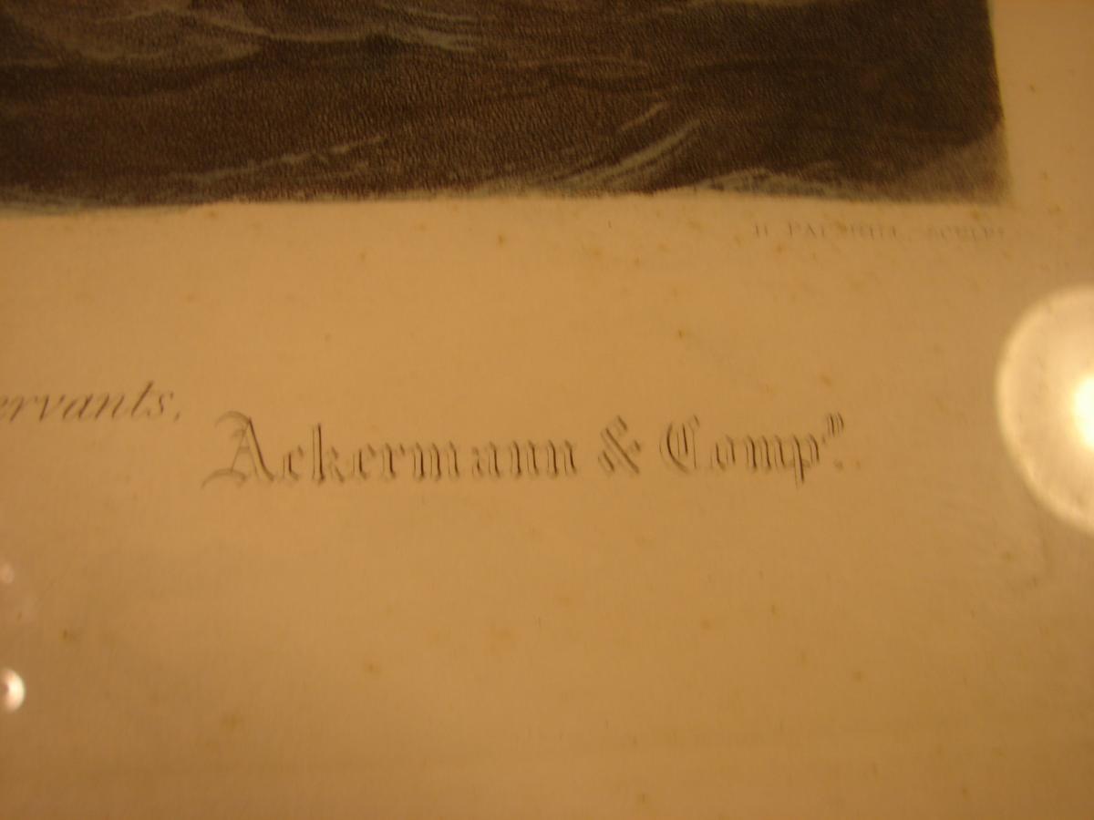 "estampe couleur 1840 ""steam ship ""president"" cadre acajou-photo-7"