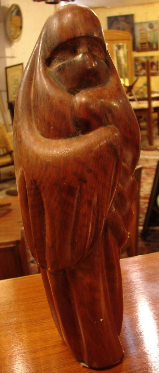 """Céline Lepage """"la Femme De Marrakech"""" Sculpture En Bois De Cerisier,"""